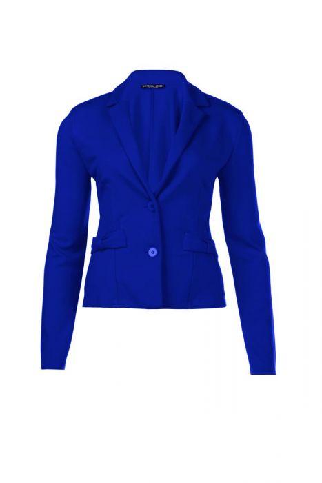 Korte blazer met sierzakken in kobaltblauw van Juffrouw Jansen