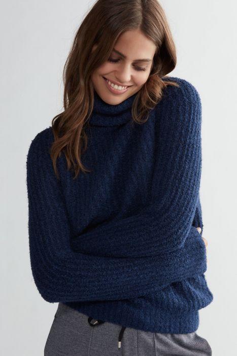 Fashion & Furniture Trui met col bouclé blauw van OUI