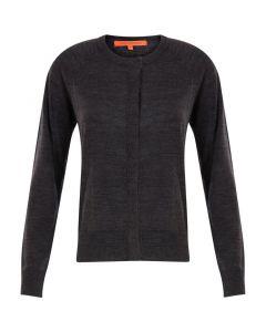 Vest in merinowol met ronde hals in Dark Grey Melange van Coster Copenhagen