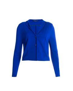 Korte blazer in kobaltblauw met reverskraag van Juffrouw Jansen
