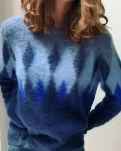 Mohair trui blauw met harlequin patroon van Coster Copenhagen