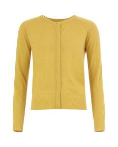 Vest in merinowol met ronde hals in Lemon Curry van Coster Copenhagen
