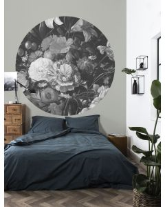 Behangcirkel Golden Age Flowers zwart-wit van KEK Amsterdam