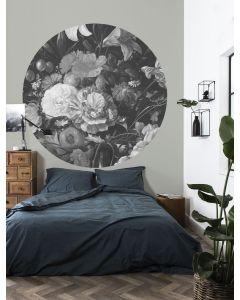 Behangcirkel Golden Age Flowers zwart-wit van KEK Amsterdam