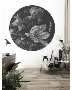 Behangcirkel Golden Age Flowers zwartwit van KEK Amsterdam