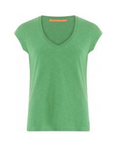 Basic t-shirt met v-hals Emerald Green van Coster Copenhagen