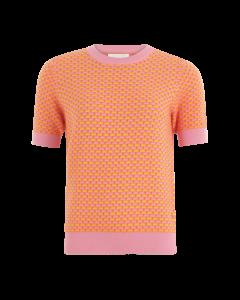 Truitje korte mouw oranje roze seawool katoen van Coster Copenhagen