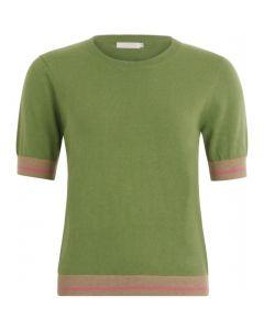 Pullover korte mouw groen met lurex detail van Coster Copenhagen