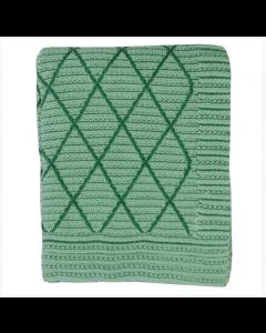 Gebreide katoenen plaid met ruitpatroon in groen