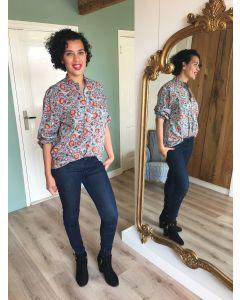 Katoenen poplin blouse in opvallende bloemenprint van OUI