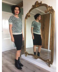 Gebreide pullover korte mouw in zebraprint van Coster Copenhagen