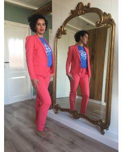 Pantalon met vouw Lucia in Poppy Pink van Coster Copenhagen