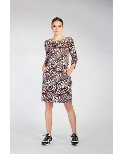 O-lijnjurk met zebradessin en stripdetail van Juffrouw Jansen