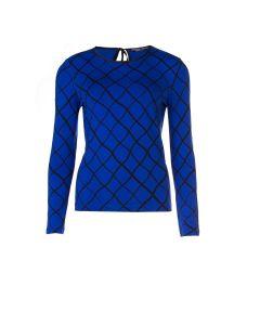 Longsleeve met visnetdessin in kobaltblauw en zwart van Juffrouw Jansen