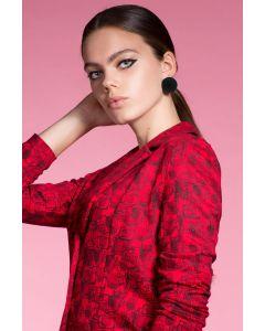 Korte blazer Wilka parfumflesjes rood-zwart van Juffrouw Jansen