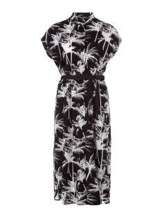 Blousejurk met palmbomendessin in zwart van Juffrouw Jansen