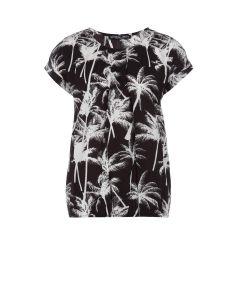 Boxy top met palmbomendessin zwart van Juffrouw Jansen
