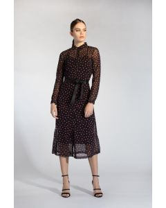 Lange jurk mesh hartjesprint met onderjurk van Juffrouw Jansen