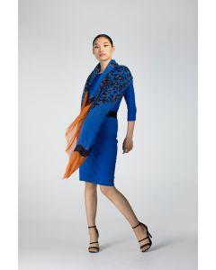 Driekleurige sjaal kobalt met twee panters van Juffrouw Jansen