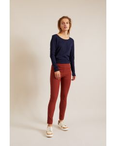 Slim-fit broek in terra van Lanius