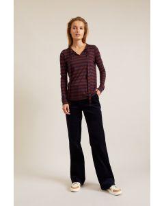 Gestreept shirt met lus in Tencel Lyocell en scheerwol van Lanius