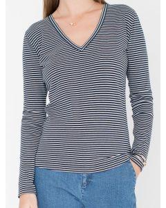 T-shirt Alexandra met lange mouwen en v-hals in bretonse streep van Miss Green