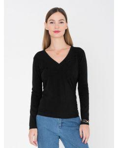 T-shirt Alexandra lange mouwen v-hals zwart van Miss Green
