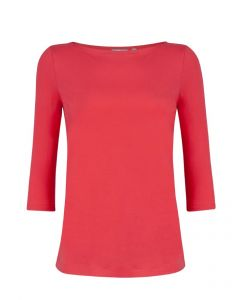 T-shirt met boothals en driekwart mouw Viv in coral red van Miss Green