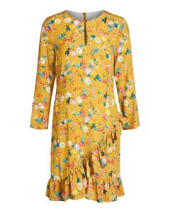 Gebloemde jurk oker met stroken van OUI