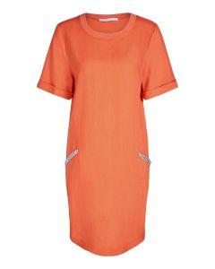 Linnen jurk in oranjerood van OUI