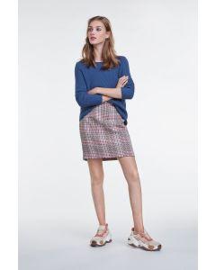 Korte rok met ruitpatroon in blauw en roze van OUI