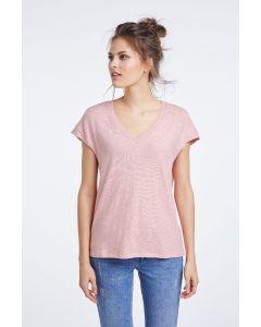 T-shirt met v-hals roze van OUI