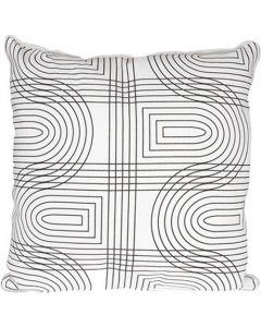 Kussen Retro Grid van Present Time in wit zwart