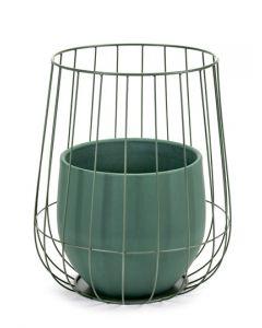 Pot in a cage plantenpot met mand van Serax in groen