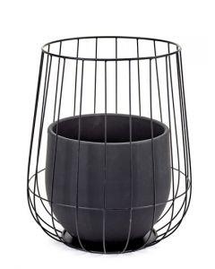 Pot in a cage plantenpot met mand van Serax in zwart