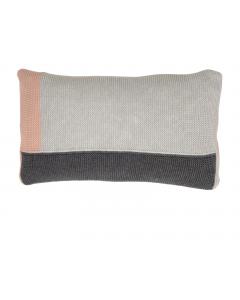 Kussen gebreid Block in grijs met roze van Lime-Light
